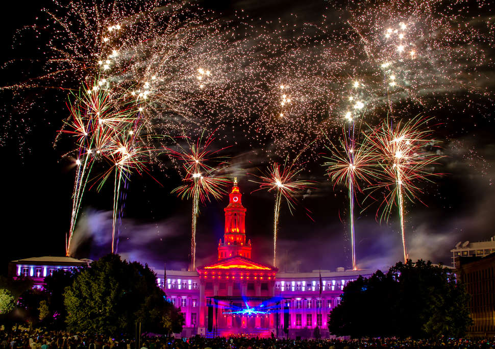 Fourth of July Celebration Fireworks in Civic Center Park