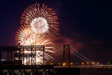 Oakland Bay Bridge Fireworks