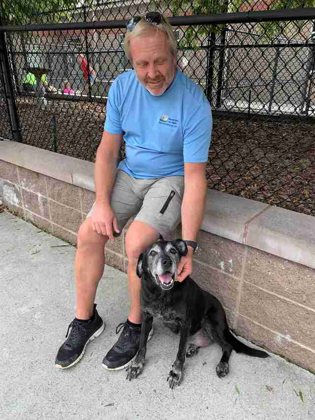 Lucky with his foster dad Joe