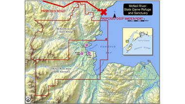 Map of proposed pit mine in Alaska