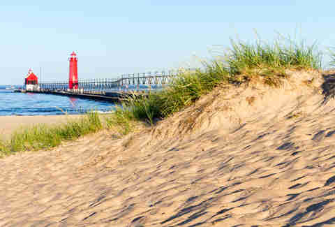 Beach at Grand Haven Lighthouse and Pier