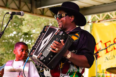American Zydeco musician Nathan Williams plays accordion with his band,