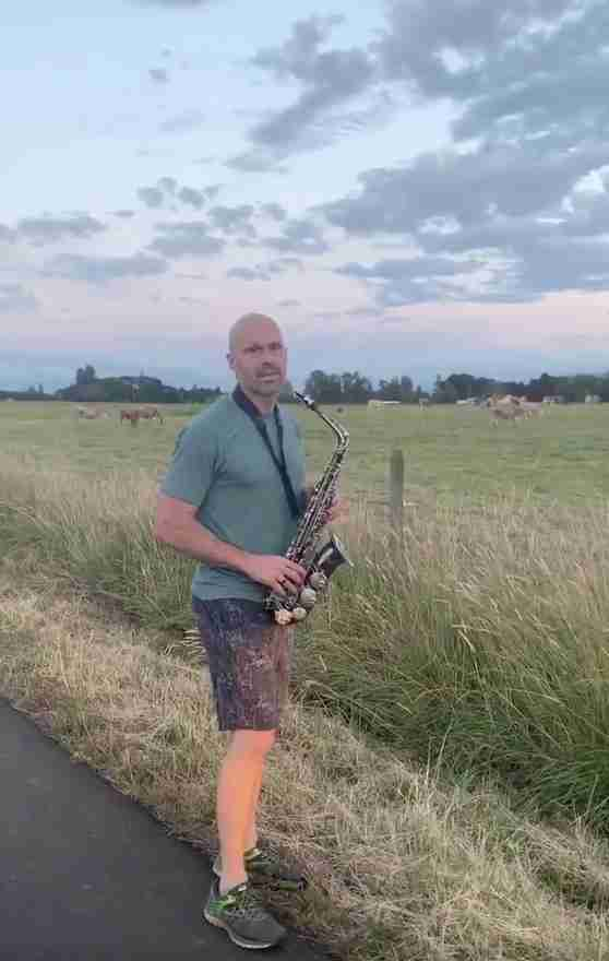 Dad Decides To Practice His Saxophone For The Best Audience