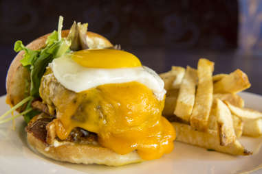 burger with egg melted cheesy cheese yolks yolk egg burgers