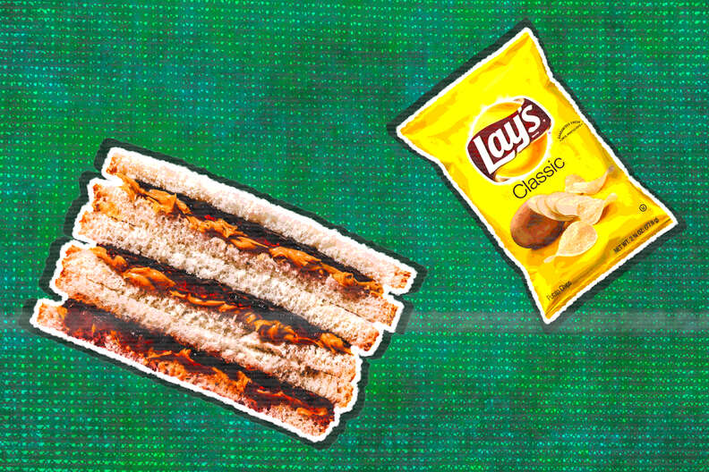 lays original chips and peanut butter and jelly