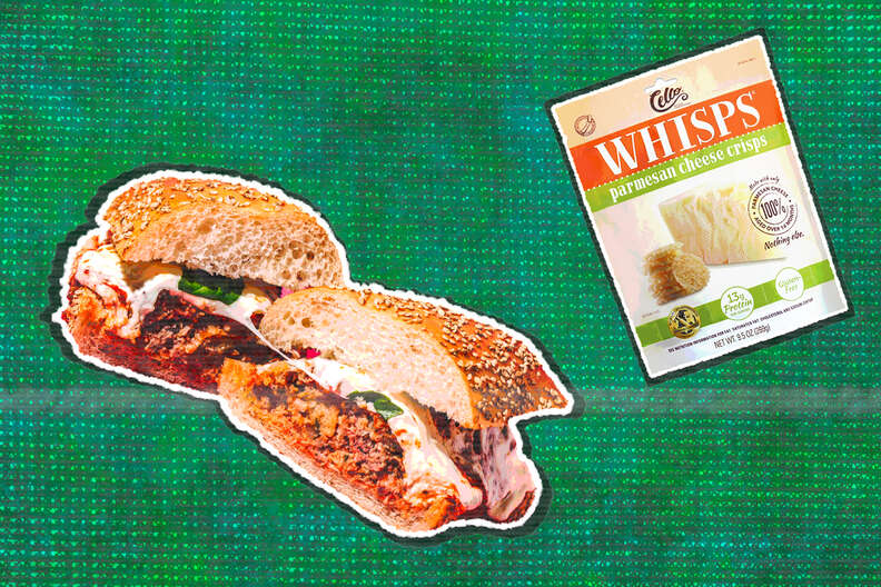 meatball sub and parmesan cheese whisps