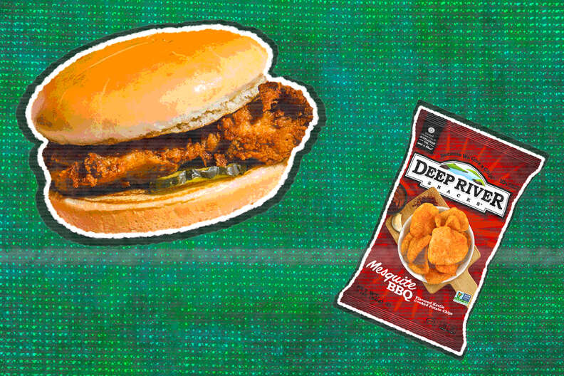 bbq chips and fried chicken sandwich