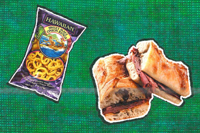hawaiian sweet maui onion rings and french dip sandwich