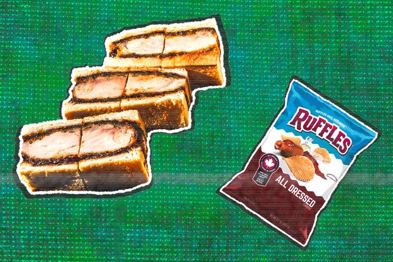 katsu sando sandwich all dressed ruffles chips