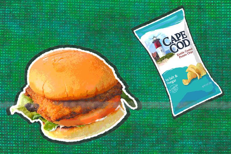 fried fish sandwich salt and vinegar chips