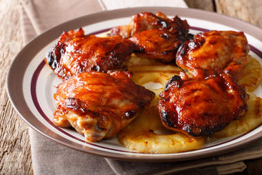 Hawaiian grill spicy chicken thighs huli huli with pineapple