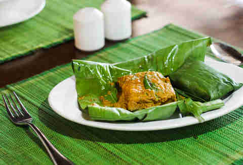fish in banana leaf
