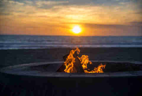 bonfire at Dockweiler Beach