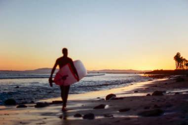 surfer on ventura beach