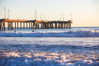 Venice Beach boardwalk and waves