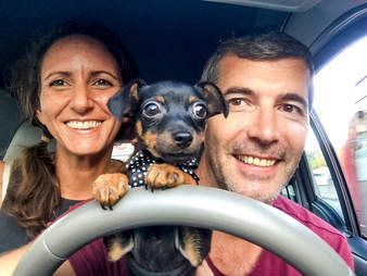 Taco the Miniature Pinscher with his owners