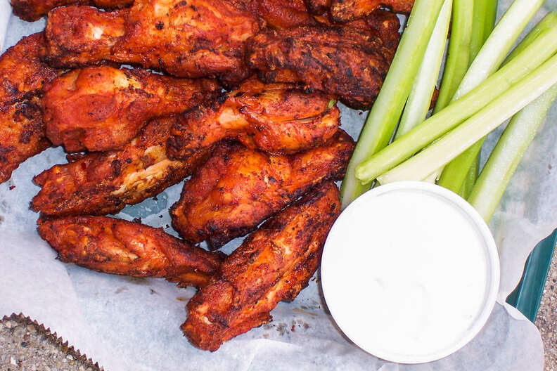 wings, celery, and ranch dipping sauce