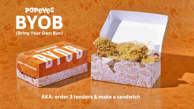 popeyes chicken sandwich byob