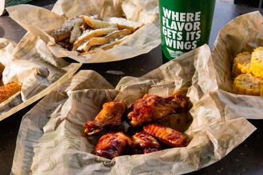 wingstop wings, fries and drinks