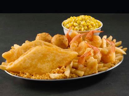 long john silver's fried fish shrimp basket