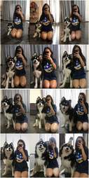 Girl takes photo every month of dog growing up