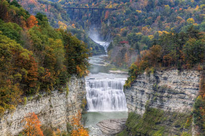 The Middle Falls At Letchworth State Park