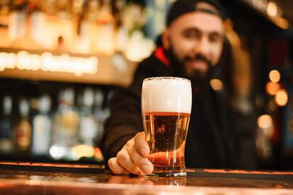 beer at the bar counter