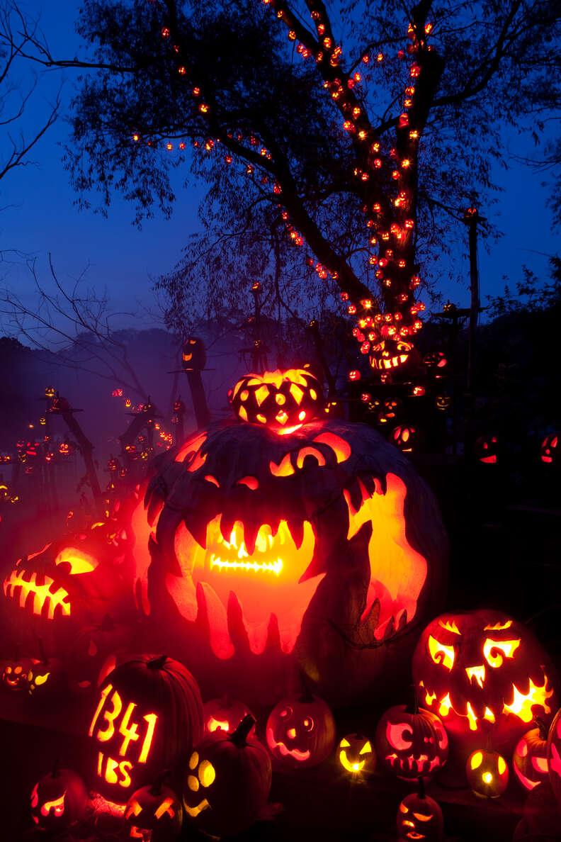 intricately carved jack o lanterns