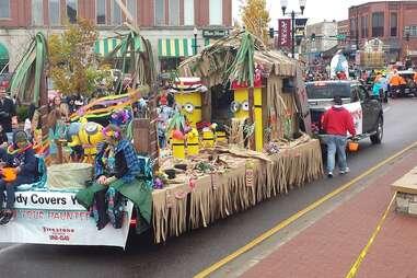 a Halloween parade float going through town