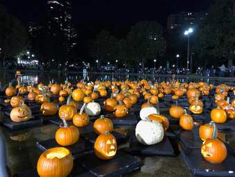 The Boston Common Frog Pond pumpkin float