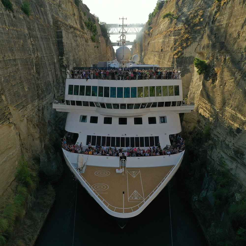 Cruise Ship Makes History With an Impossible Squeeze Through Narrow Canal