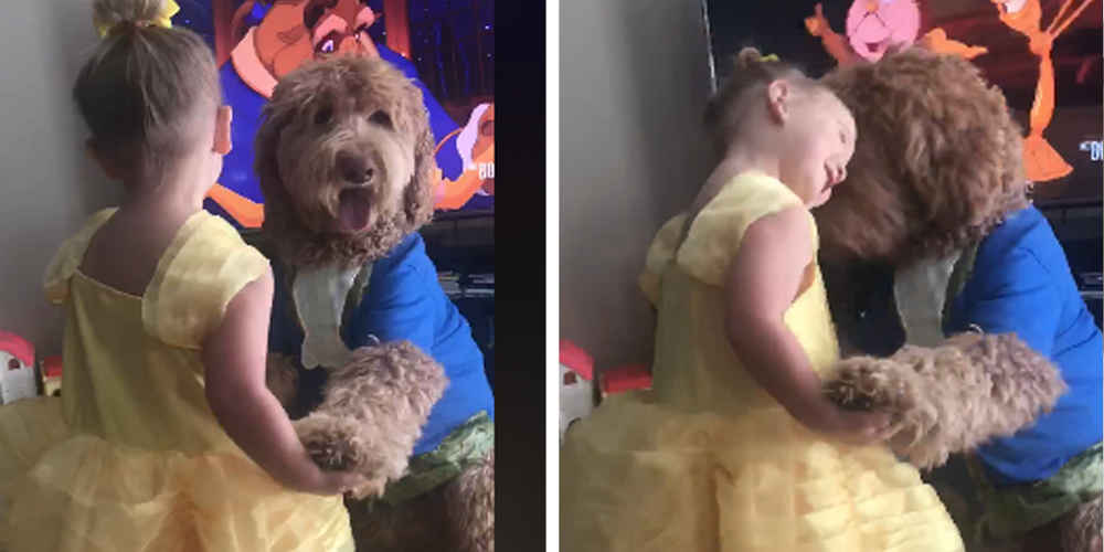 Little Girl And Dog Recreate Scene From 'Beauty And The Beast'