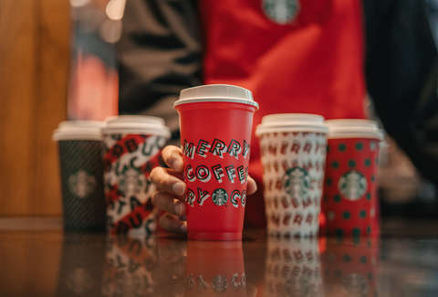 starbucks reusable cup holiday drink deal red