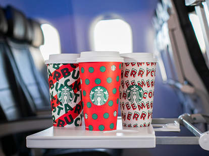 starbucks holiday cups coffee alaska airlines airline priority boarding