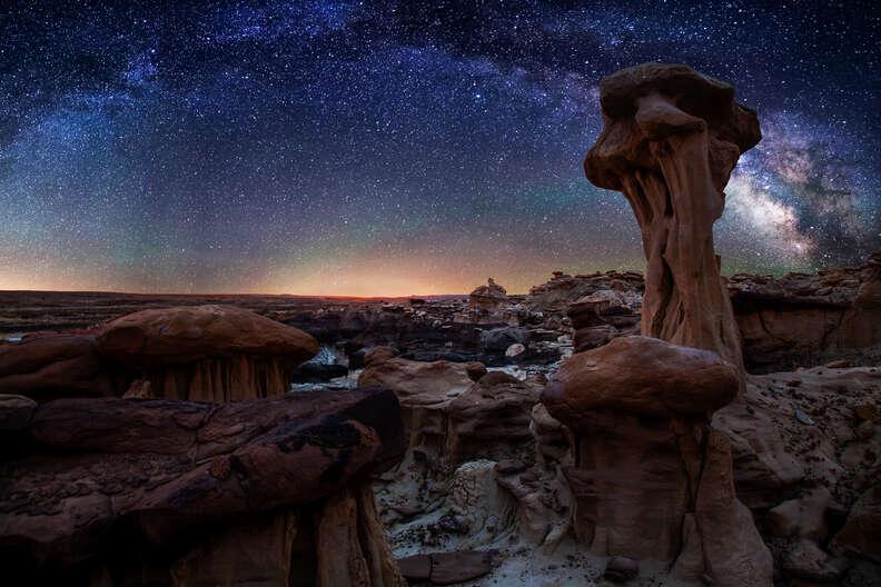 Bisti Badlands hoodoos Milky Way
