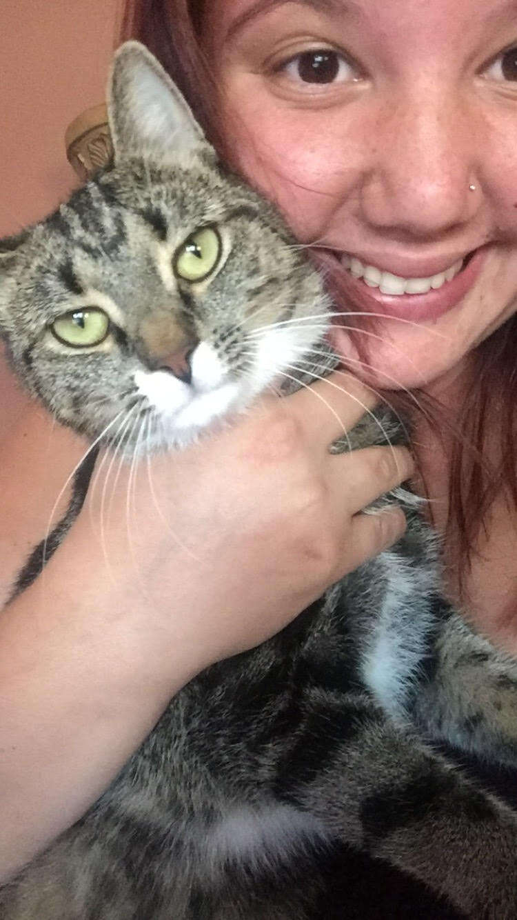 Danielle Schafer and her cat Kitty
