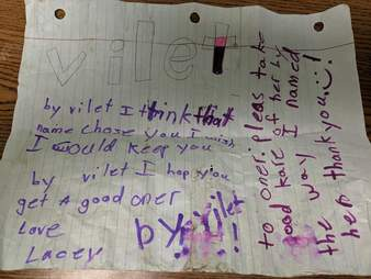 Note written by little girl found on cat's collar
