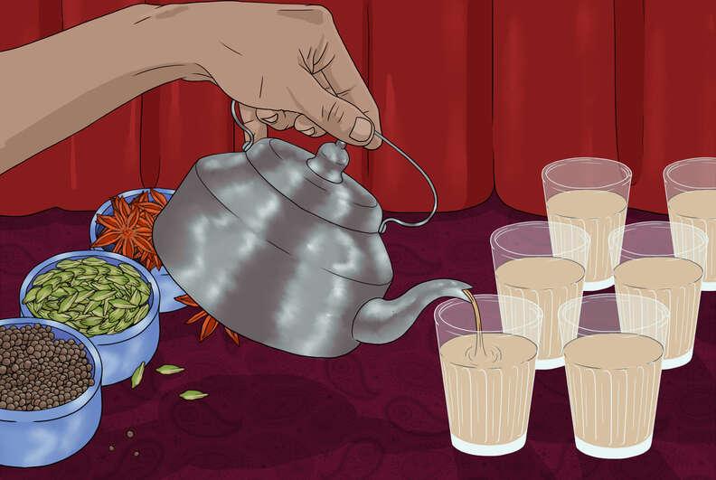 chai tea pour
