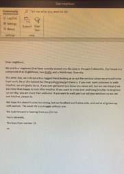 Letter written to neighbor dog Stevie