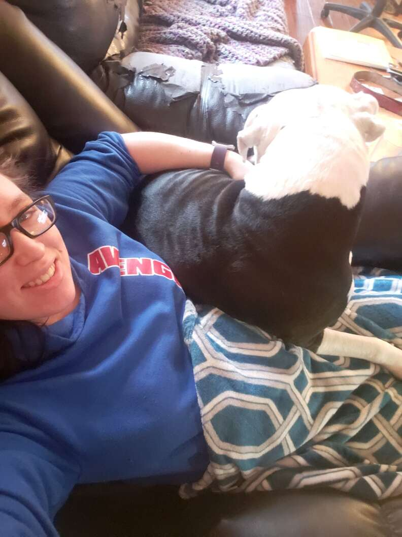 dog follows mom