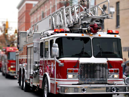 firetruck firefighter help delivery pizza babies baby