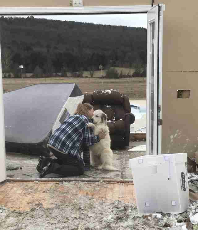 Woman finds dog after tornado destroys home