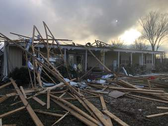 House in Logan County, Arkansas destroyed by tornado