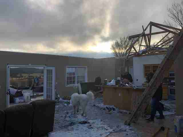 A house destroyed by an EF-2 tornado