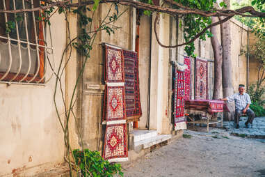 Carpet shop in the Old Town of Baku