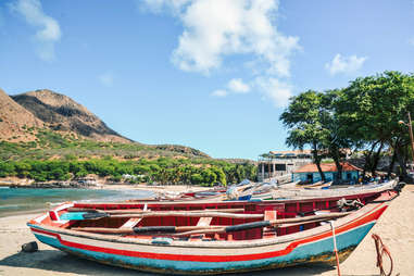 colorful boats and beaches in Cape Verde