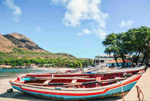 colorful boats in Cape Verde