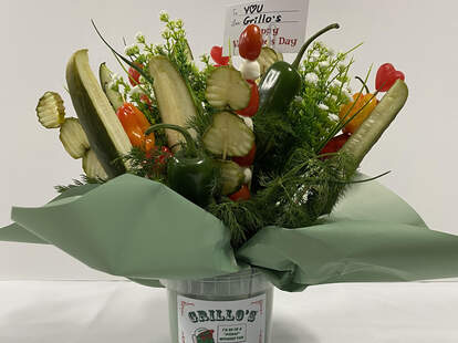 grillo's grillos pickles bouquet valentine's day pickle flowers spears peppers