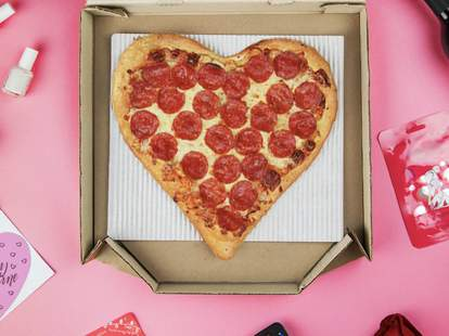 heart-shaped pizza valentine's day