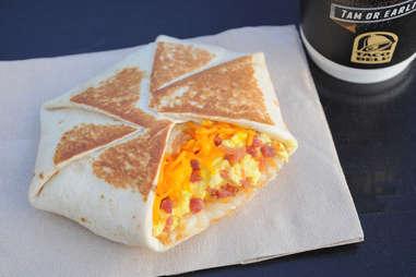 taco bell breakfast crunchwrap hash browns cheese eggs bacon